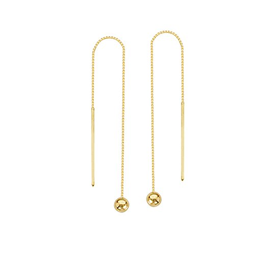 Yellow Gold Dangling Threader Earrings - 4