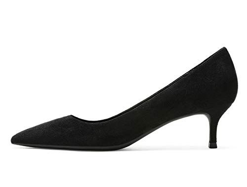 3' Platform Black Pump - Shoes Woman Brown Ladies Pumps 5CM Med Heels Zapatos De Mujer Pointed Toe Women's Shoes,Black,6.5