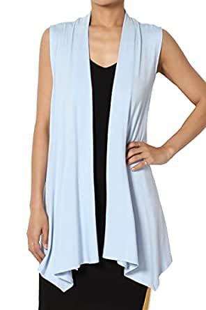 TheMogan Sleeveless Waterfall Jersey Cardigan Lightweight Draped Layering Vest - Blue - Small