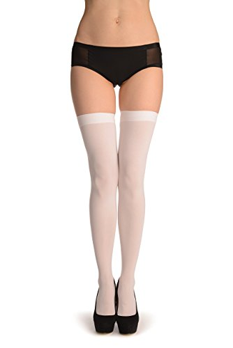 (White Plain Opaque 40 Den - Stay - Up Thigh High Hold Ups)