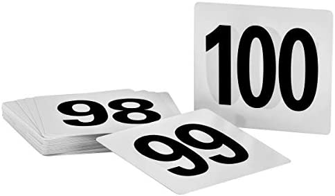 Free shipping Yellow w// Black Numbers Plastic Table Numbers 1-100 Tent Style