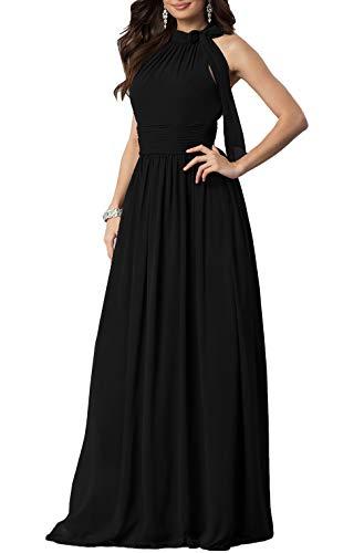 (Aox Women's Formal Chiffon Sleeveless A Line Halter Long Maxi Party Evening Dress Skirt (XL, Black))