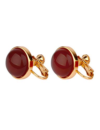 DooRemi 18K Gold Plated Red Agate Bling Clip On Earrings for Wedding Bridal or Bridesmaids