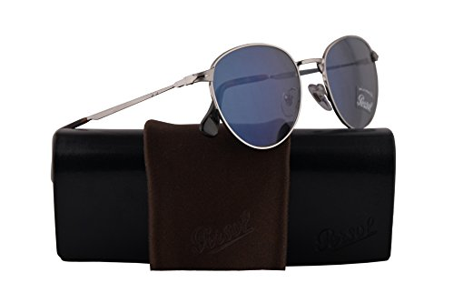 Persol PO2445S Sunglasses Silver w/Light Blue Lens 52mm 51856 PO 2445-S PO2445-S PO 2445S (Persol Silver Sunglasses)