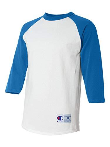 (Champion Men's Raglan Baseball T-Shirt, White/Team Blue, Large)