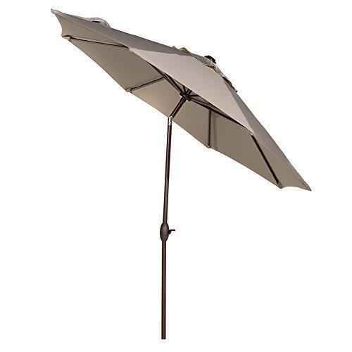 Abba Patio 9' Sunbrella Fabric Aluminum Patio Umbrella with Auto Tilt and Crank, 8 Ribs, Beige