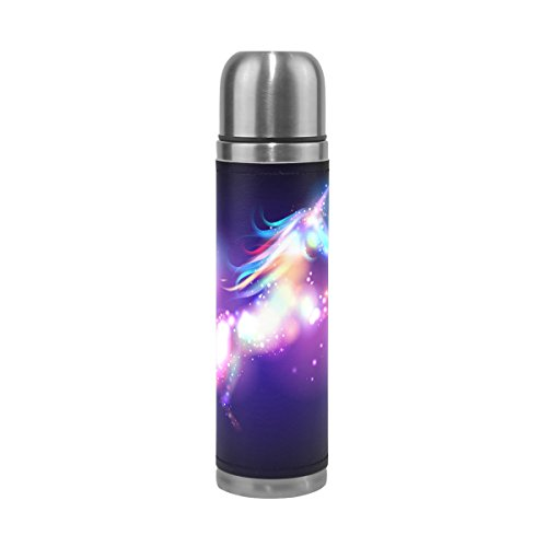 (JSTEL Unicorn Magic with Stars Stainless Steel Water Bottle Vacuum Insulated Leak Proof Double Vacuum Bottle for Hot Coffee or Cold Tea + Drink Cup Top 500ml)