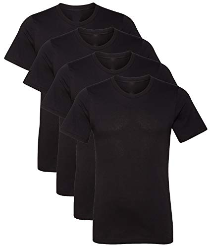 Kennedy Todd 4 Pack Men's Heather Cotton Poly T-Shirt (4 Pack Black, Large) ()