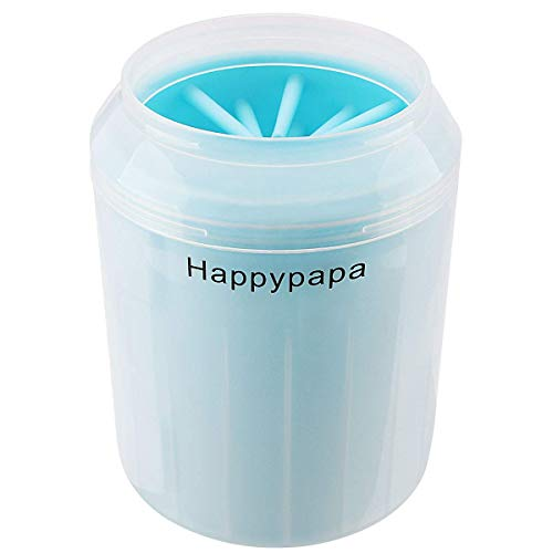 Happypapa Dog Paw Cleaner Portable Dog Foot Washer Cup Detachable Dirty Dog Paw Washer for Cat & Dog with Soft Silicone Brush (Medium, Blue)