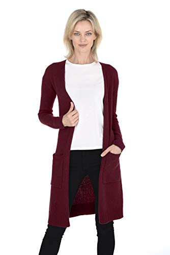 Cashmeren Mid-Length Open Cardigan 100% Cashmere Long Profile Sleeved Sweater for Women (Burgundy, Medium)