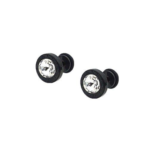 JSEA 8 10mm Stud Earrings Screw Back Stainless Steel Cz Round Small Earrings Black Silver Gold (Black, (Black Zirconia)
