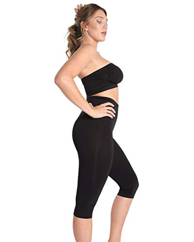 ( Double Agent High Waist Shaping Capris - SlimMe by MeMoi - Versatile Leggings ,Black,Medium)