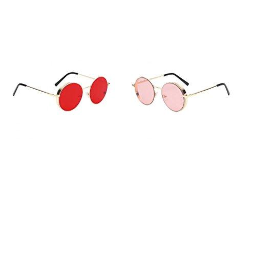 Unisex Círculo Hippie Mujeres de Moda De Polarizadas Estilo MagiDeal rosado Gafas Hermosa Chicas Redondas Vintage Cara Sol 0Zqnpxwv