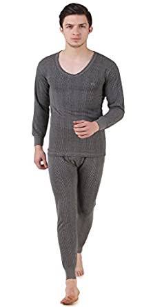 HAP Kings Quilted Thermal Set: V Neck Top + Trouser (Dark Grey)/ Body Warmer/Cosy Winter Innerwear