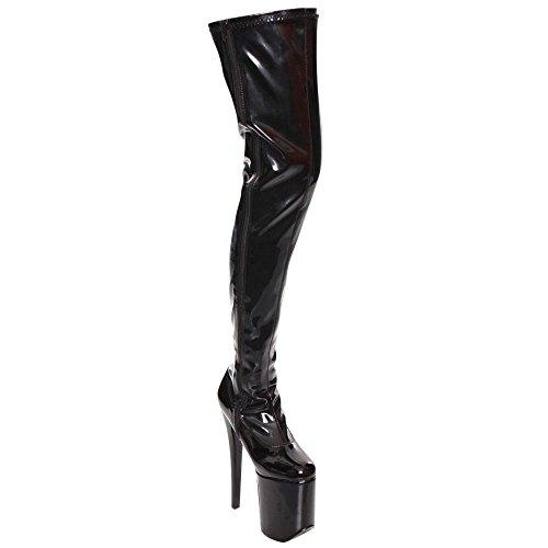 Tramp Blk Pat Dress Boots Devious Women's Str Blk Leather 3000 86ggUz