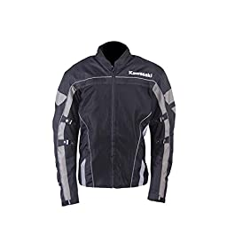 KAWASAKI GENUINE ACCESSORIES Textile Men's MESH Jacket (Black/Grey, XL)