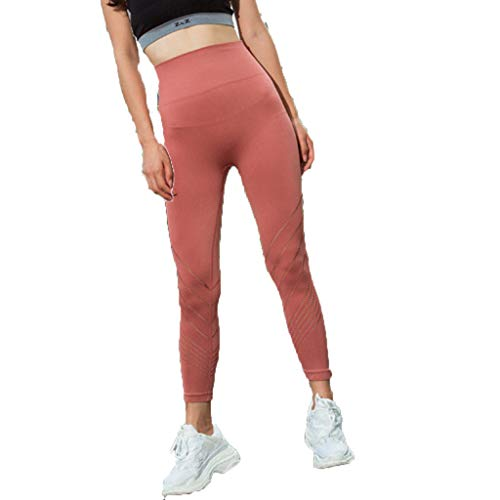 iHPH7 Leggings for Women high Waisted Leggings Sports Hip Tight Compression Hollow Quick-Drying Fitness Yoga Slim Nine Pants (S,Red)