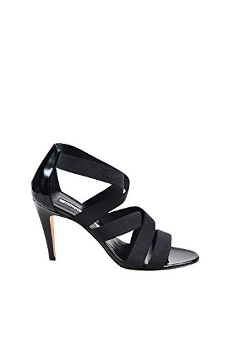 Manolo Blahnik Women's Black Elastic Strappy Apeni Heeled Sandals SZ ()