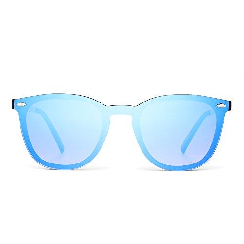 Rimless Shades - JIM HALO Rimless Sunglasses One Piece Mirror Reflective Eyeglasses for Men Women (Matte Black/Mirror Blue)