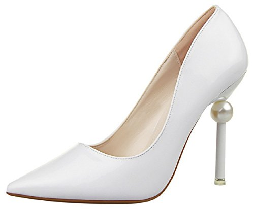 HooH Women's Pearl Pointed Toe Stiletto Pumps 398-1 White HtnMBSz2rs