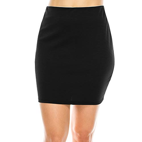 Fashionazzle Women's Casual Mid-Rise Bodycon Pencil Mini Skirt Stretchy Ponte Skirt (Medium, KS07-Black)