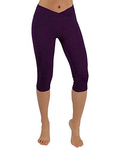 ODODOS Power Flex Yoga Capris Pants Tummy Control Workout Running Non See-through Fabric Yoga Capris Leggingss With Hidden - Triangle Reflex
