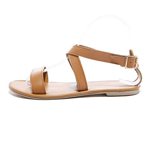 (Respctful_shoes for Woman Summer Flat Sandal Bohemia Summer Flat Slippers Thongs Flip Flop Shoes Brown)