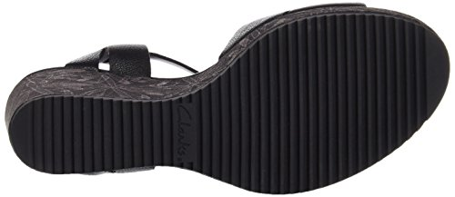Clarks Adesha River, Sandalias de Cuñas Mujer Negro (Black Leather)