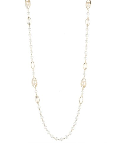 Carolee Women's Fresh Water Pearl Station Necklace, Gold/White, 36