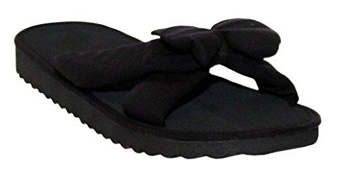 A&H Footwear Ladies Womens Lightweight Floral Print Bow Front Slip On Open Toe Summer Beach Flip Flops Mule Sandals Sizes UK 3-8 All Black
