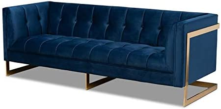 Baxton Studio Ambra Modern Velvet and Gold Finish Sofa