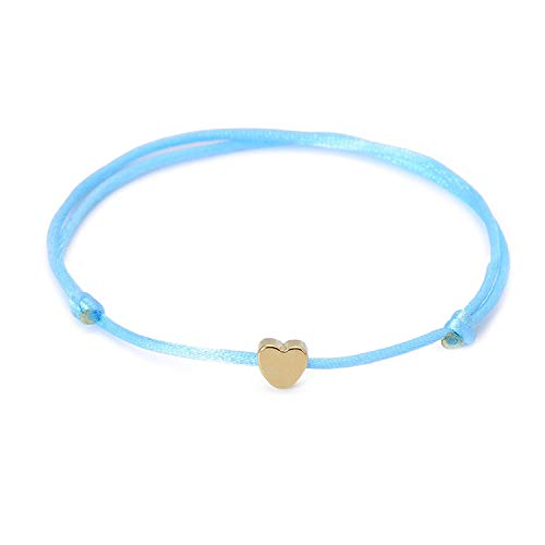HANBINGPO Gold Color Heart Bracelet Silver Handmade Jewelry Multicolor Rope Adjustable String Lucky Bracelet for Women Children,Blue-Gold
