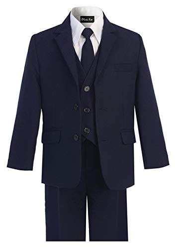 OLIVIA KOO Boys Solid 5-Piece Formal Suit Set With Matching Neck Tie,Navy,6 -