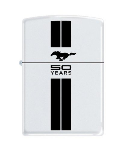 zippo-lighter-ford-mustang-50th-anniversary-white-matte-black-stripes