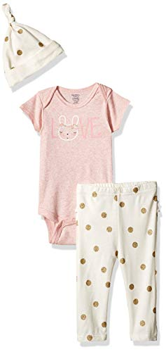- Gerber Baby Girls 3-Piece Organic Onesies Bodysuit, Pant and Cap Set, Bunny Love, 0-3 Months