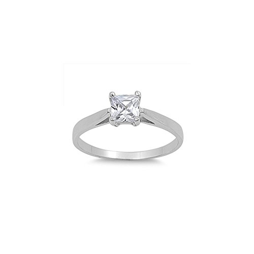 Princess Cut Cathedral Setting - .925 Sterling Silver Cathedral Princess-cut Cubic Zirconia Solitaire Ring