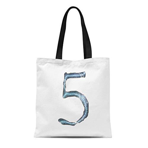 Semtomn Canvas Tote Bag Shoulder Bags Antique Jagged Edge Blue Ice Number Five in 3D Women's Handle Shoulder Tote Shopper Handbag (Lettering Chisel)