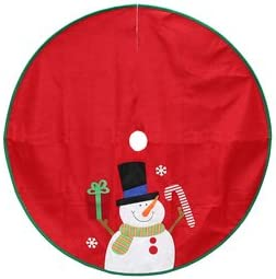 "Holiday Living 40"" Red Felt Snowman Christmas Tree Skirt"
