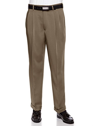 RGM Men's Work to Weekend Microfiber Performance Traditional Fit Pleated Dress Pant Loden 36 Medium -