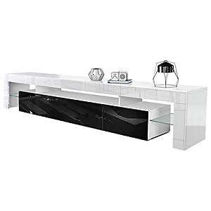 Meuble TV Bas Lima V2, Corps en Blanc/Façades en Noir Haute Brillance