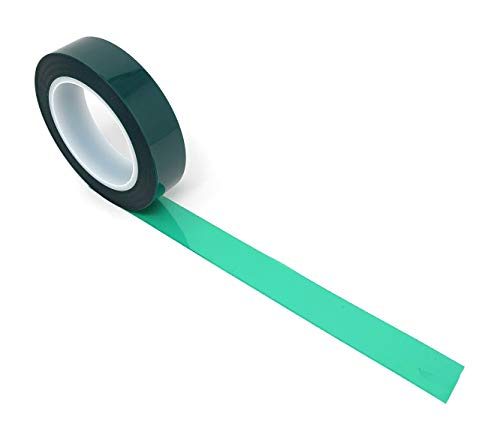 APT, (1'' X 72 Yds, Green), 2 Mil Polyester Tape with Silicone Adhesive, PET, Mylar Tape, high Temperature Tape, 3.5 mil Thickness, Powder Coating, E-Coating, Anodizing, high Temp Masking.(1 inch) ()