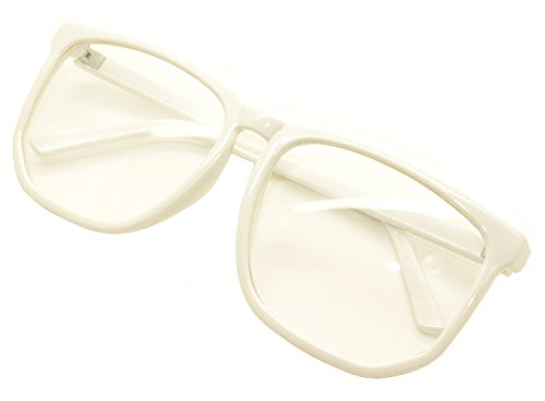 FancyG Retro Vintage Inspired Classic Nerd Square Clear Lens Glasses Frame - - White Glasses Nerd