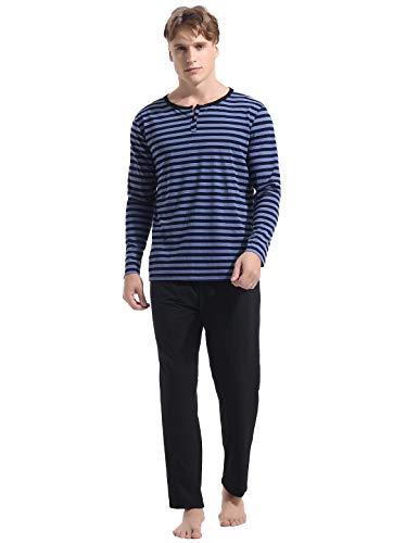 (Abollria Men's Pajama Set Cotton Long-Sleeve Henley Top Pants Pjs Sleepwear (Blue 2, Small))
