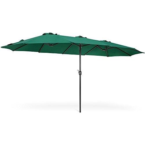 Best Choice Products 15x9ft Large Rectangular Outdoor Aluminum Twin Patio Market Umbrella w/Crank, Wind Vents - Green ()