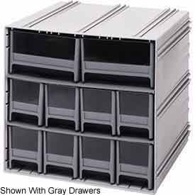 Quantum QIC-8224RD Interlocking Gray Storage Cabinet with 10 Red Drawers, 11.38-Inch by 11-3/4-Inch by 11-Inch
