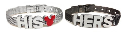 BG247 Mickey and Minnie Inspired His & Hers Couple Stainless Steel Bracelet Set By - Bangle Gunmetal Bracelet