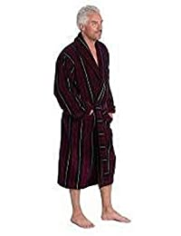 Red & Navy Marchand Egyptian Cotton Velour Mens Bathrobe