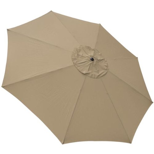 New 13 Foot Tan Patio Umbrella with Firm and Durable Aluminum Black Pole