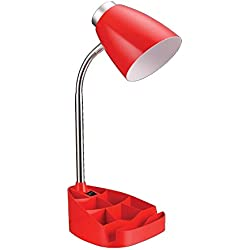 "Limelights LD1002-RED Gooseneck Organizer Desk Lamp with iPad Tablet Stand BookHolder, 7.5"" x 6.6"" x 17.25"", Red"