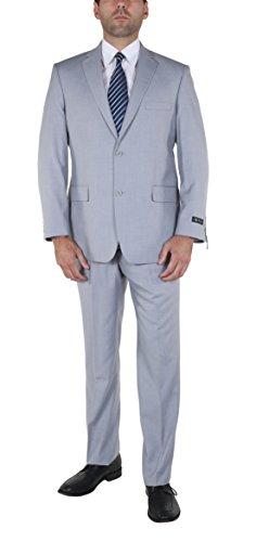 P&L Men's Two-Piece Classic Fit Office 2 Button Suit Jacket & Pleated Pants ()